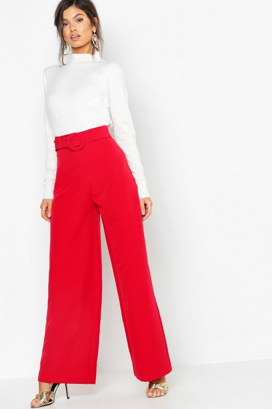 Womens Red Wide Leg Belted High Waist Pants
