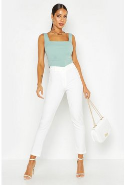 Womens White Tapered Trouser