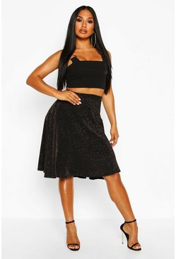 Womens Black Glitter Skater Skirt