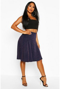 Womens Navy Glitter Skater Skirt