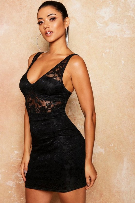 Womens Lace Bustier Cup Detail Bodycon Dress