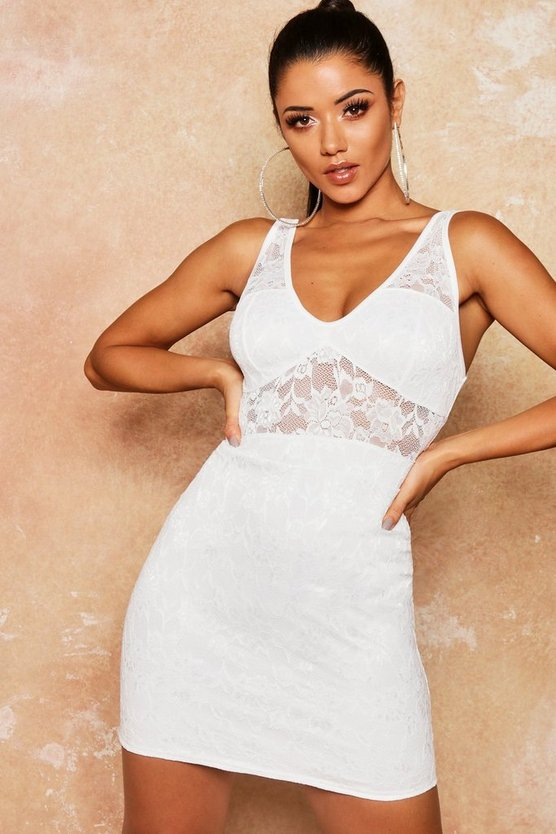 Lace Bustier Cup Detail Bodycon Dress
