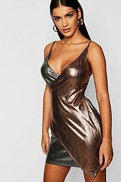 Strappy Metallic Wrap Mini Dress