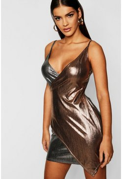 Womens Gold Strappy Metallic Wrap Mini Dress