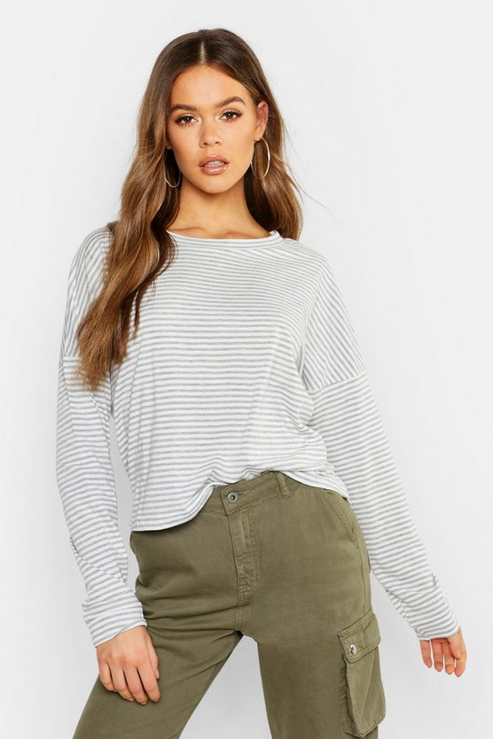 Stripe Cotton Long Sleeve Shirt
