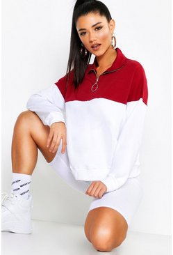 Womens Burgundy Colour Block 1/2 Zip Sweat