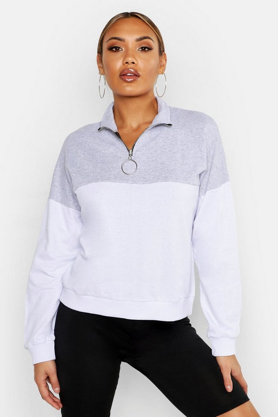 Womens Grey Colour Block 1/2 Zip Sweat