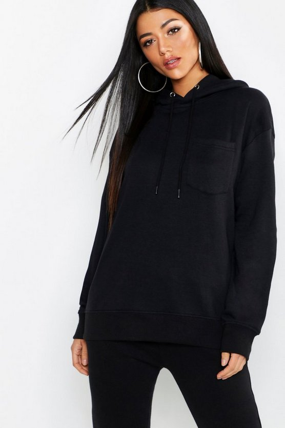 Womens Black Basic Hoody With Pocket Detail