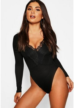 Womens Black Long Sleeve Rib Lace Trim Bodysuit