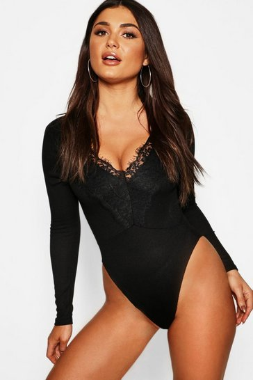 Black Long Sleeve Rib Lace Trim Bodysuit