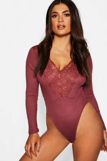 Womens Wine Long Sleeve Rib Lace Trim Bodysuit