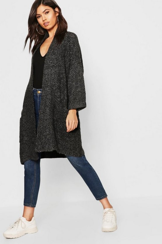 Womens Charcoal Oversized Slouchy Pocket Front Cardigan