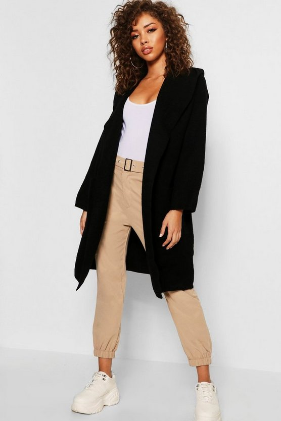 Womens Black Oversized Longline Hooded Cardigan