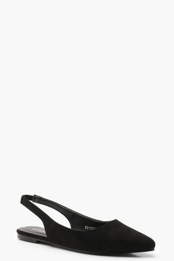Black Pointed Sling Back Flats