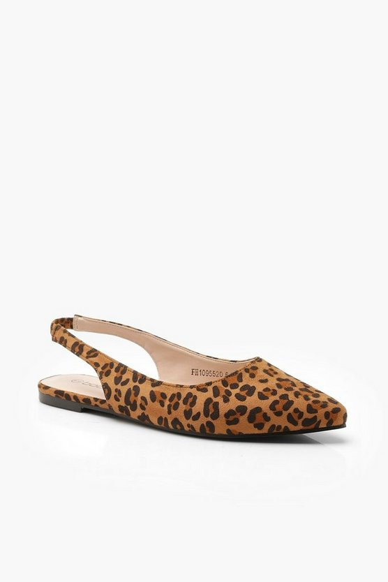 Pointed Leopard Sling Back Flats