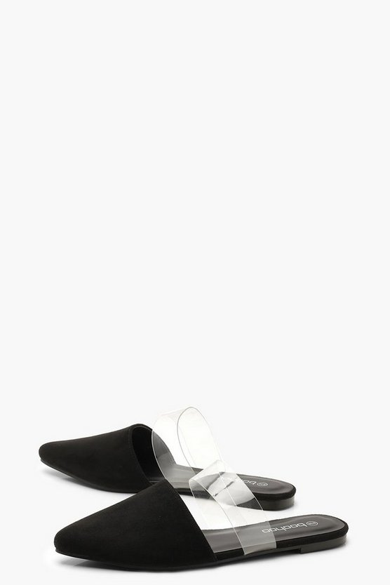 Pointed Clear Strap Flats