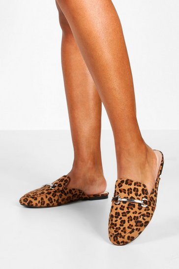 Womens Leopard Metal Trim Mule Loafers
