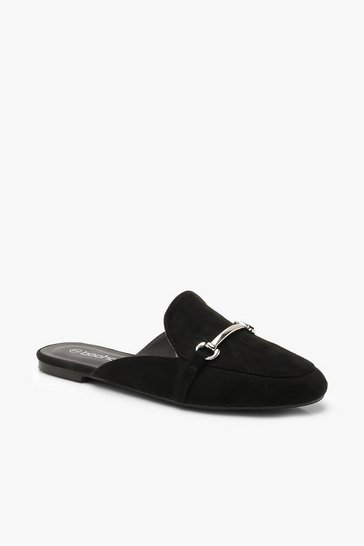 Black Metal Trim Mule Loafers