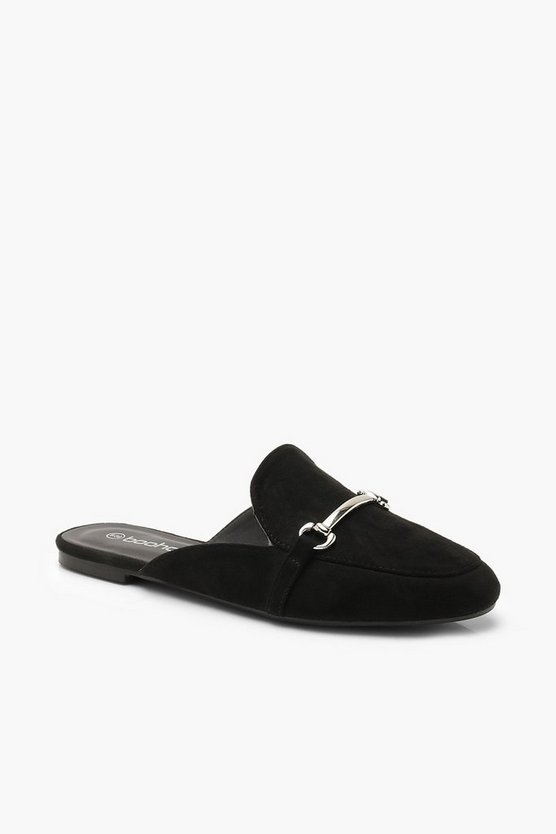 Womens Black Metal Trim Mule Loafers