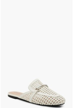 Dam White Woven Mule Loafers