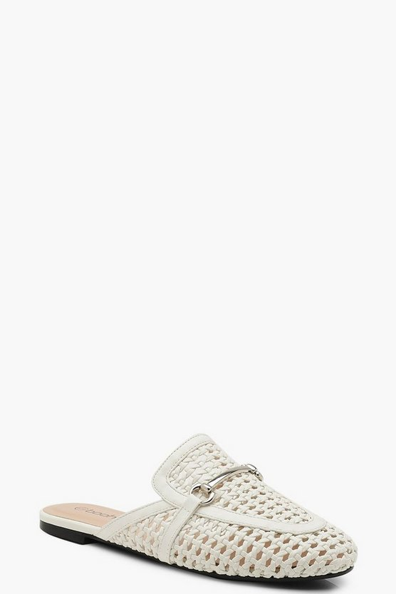 Womens White Woven Mule Loafers