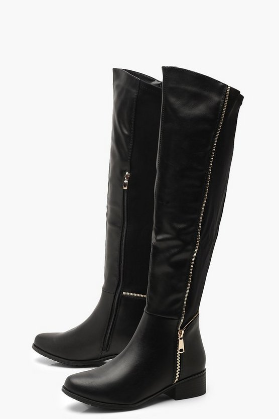 5c8ae5cef65e ... Stretch Back Zip Detail Flat Knee High Boots
