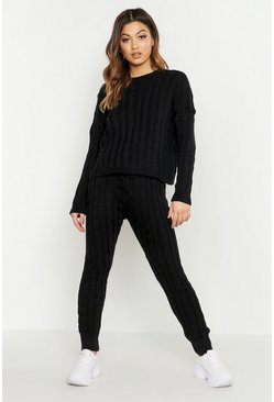 Womens Black Cable Knit Trouser Co-ord