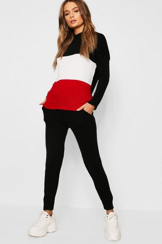 Colour Block Hooded Knit Lounge Set
