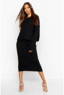 Womens Black Cable Knit Jumper And Skirt Set