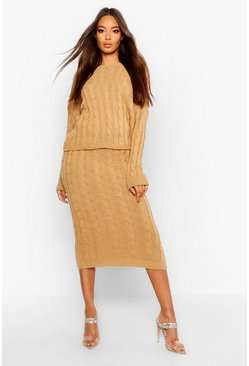 Womens Camel Cable Knit Jumper And Skirt Set