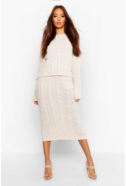 Womens Cream Cable Knit Sweater And Skirt Set