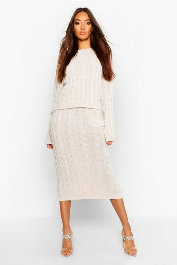 Womens Cream Cable Knit Jumper And Skirt Set