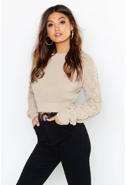 Womens Stone Bobble Sleeve Crop Sweater