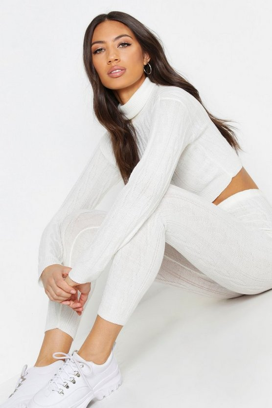 Womens Ivory Roll Neck Cable Knit Set