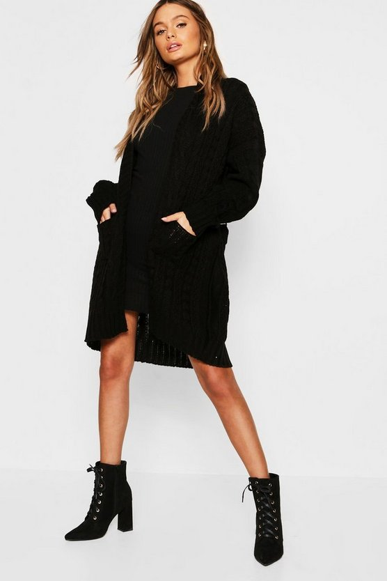 Womens Black Belted Slouchy Cable Knit Cardigan