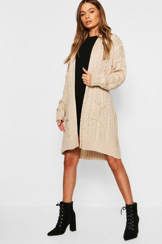 Belted Slouchy Cable Knit Cardigan