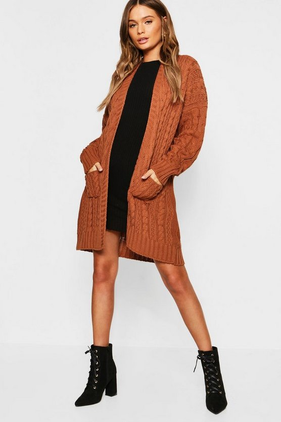 Womens Tobacco Belted Slouchy Cable Knit Cardigan
