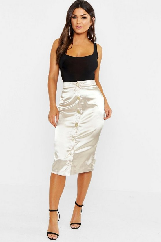 Satin Button Through Midi Skirt