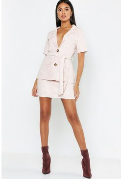 Womens Soft pink Suedette Mini Skirt