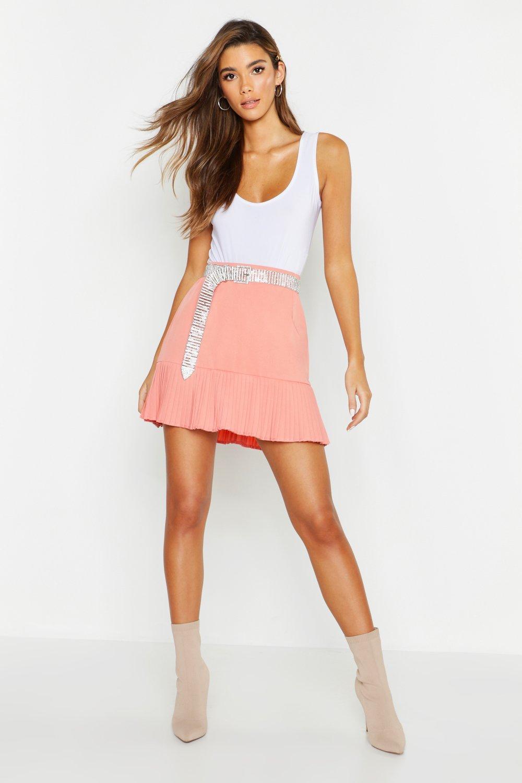 Woven Pleated Hem Mini Skirt