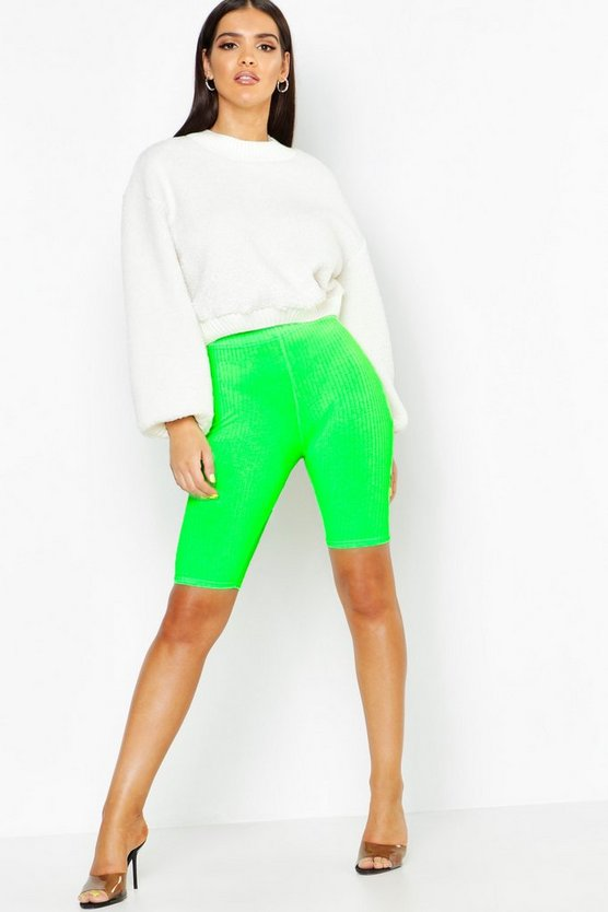 Womens Neon-green Jumbo Rib Neon Cycling Shorts