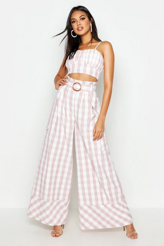 Pink Woven Gingham Extreme Wide Leg Pocket Pants
