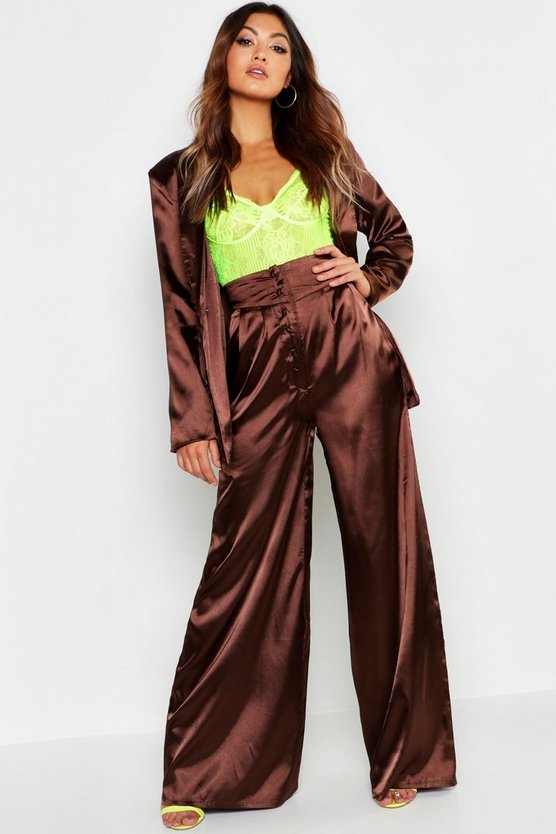 Satin Wide Leg Button Detail Wide Leg Trouser