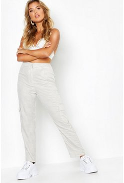 Womens Ecru Woven Tapered Gingham Cargo Pant