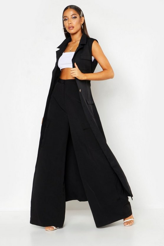 Black Woven Extreme Wide Pocket Pants