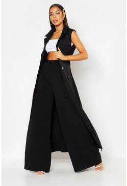 Womens Black Woven Extreme Wide Pocket Pants