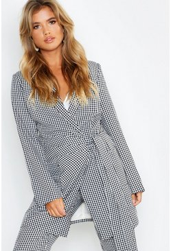 Womens Black Woven Longline Gingham Side Tie Blazer