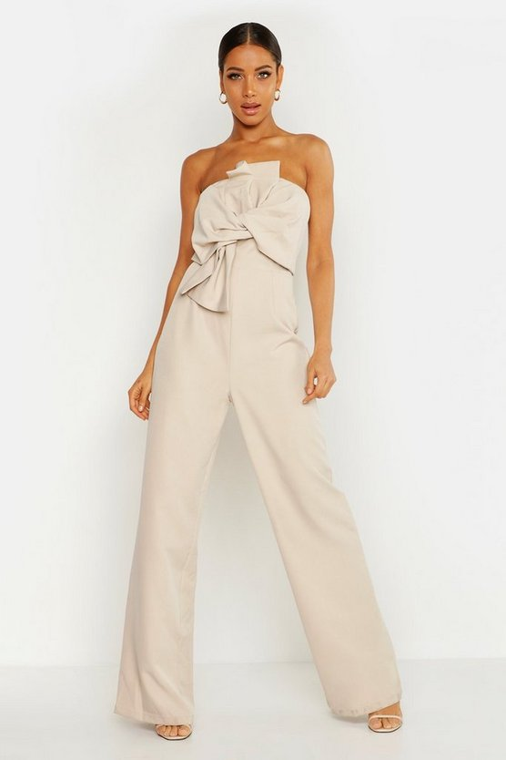 Womens Stone Boutique Bow Front Jumpsuit