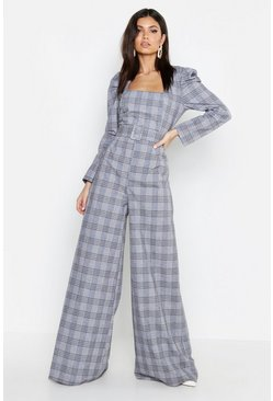 Womens Grey Check Square Neck Puff Shoulder Jumpsuit
