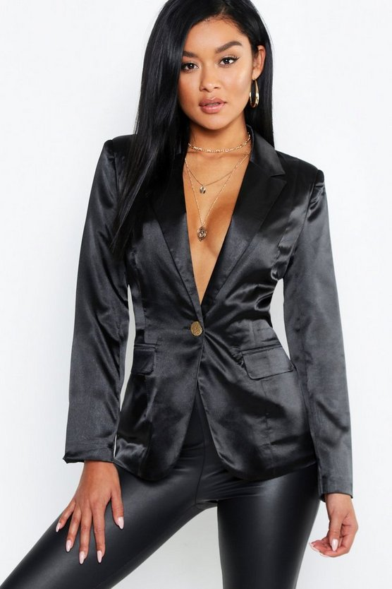 Womens Black Satin Pocket One Button Blazer